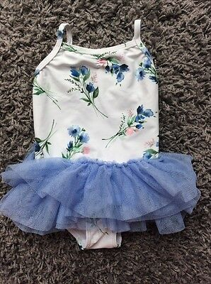 Next Baby Girl 9-12 Months Floral Print Tutu Swimming Costume Worn Once