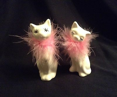 Porcelain Vintage Hand Painted Pair Of Cats With Pink Boas