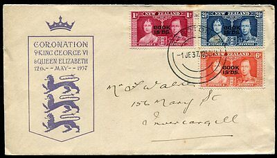 Cook Islands 12 May 1937 KGVI King George VI Coronation cover, used 1 June to NZ