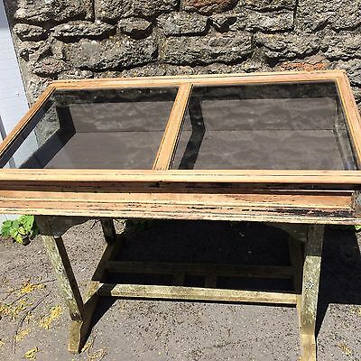 ANTIQUE VINTAGE FRENCH LARGE DOUBLE COUNTER TOP SHOP DISPLAY CABINET Width 122cm