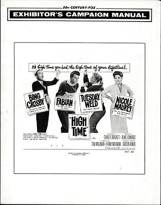 HIGH TIME pressbook, Bing Crosby, Fabian, Tuesday Weld, Nacole Maurey