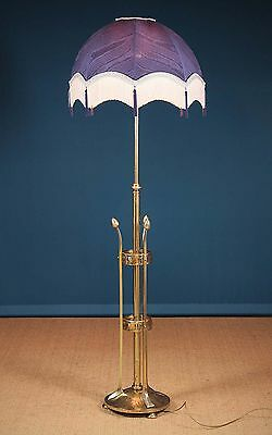 Antique Art Nouveau Adjustable Brass Standard Lamp c.1890.