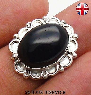 Black Onyx & 925 Sterling Silver OVERLAY Handmade Ring  US Size 8.5 MT13484