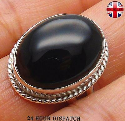 Black Onyx & 925 Sterling Silver OVERLAY Handmade Ring  US Size 9 MT13157