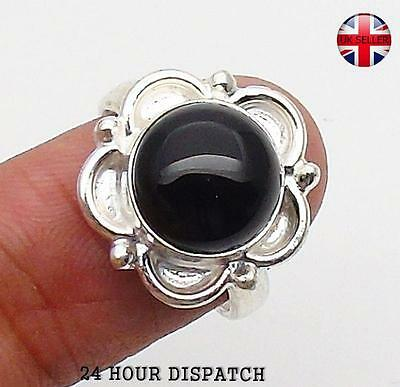 Black Onyx & 925 Sterling Silver OVERLAY Handmade Ring US Size 8  MT10833