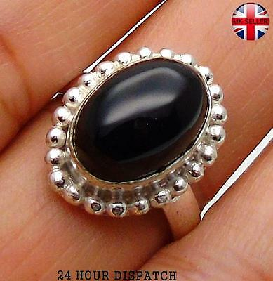 Black Onyx & 925 Sterling Silver OVERLAY Handmade Ring US Size  8 MT13335