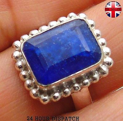 Sapphire  & 925 Sterling Silver OVERLAY Handmade Ring  US Size 8 MT13155