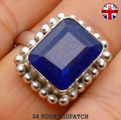 Sapphire  & 925 Sterling Silver OVERLAY Handmade Ring  US Size 9 MT12292