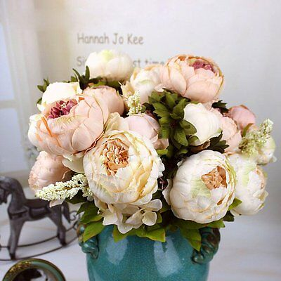 Artificial Bridal Bouquet Peony Silk Flowers Fake Leaf Home Wedding Party Decor