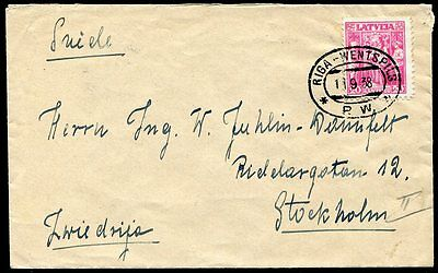 "Latvia 1938 TPO ""Pasta Wagon"" Riga - Wentspils cover to Stockholm, Sweden"