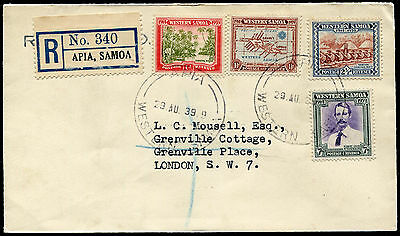 Samoa 181-4 complete set on 1939 registered First Day Cover (FDC) to England