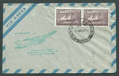 Argentina 638 pair on AAMC.J493 First Flight 1960 Cover to New York