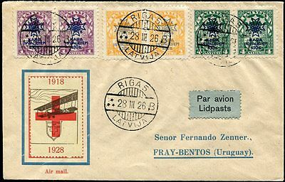 Latvia 1926 airmail cover war charity issue Riga - Uruguay, Red Cross cinderella