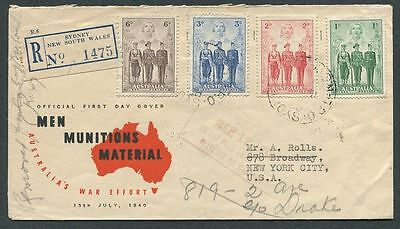 Australia 184-7 Armed Forces Issue Registered 1940 FDC to New York and returned