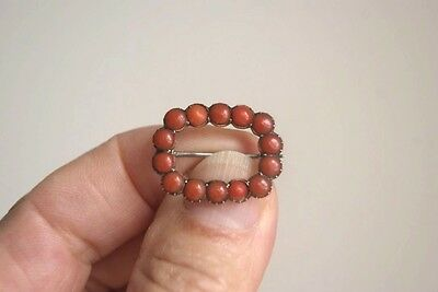Fine Antique Georgian 15 Carat Rose Gold Open Face Coral Lace Pin Brooch  2.2 G