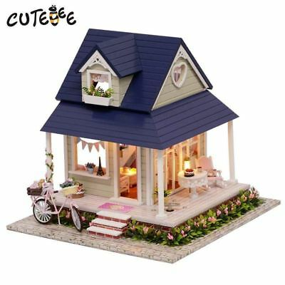 CUTEBEE DIY Mini Miniature Dollhouse Doll House Kit With Furniture Hobby Toy