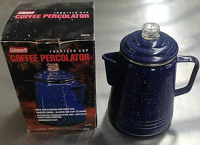 COLEMAN ENAMEL 14 CUP COFFEE POT with PERCOLATOR HOME,CAMPING,BBQ PICNIC.