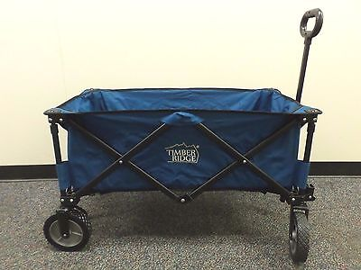 Folding Wagon Collapsible Sturdy Steel Frame Blue Canvas Timber Ridge Used