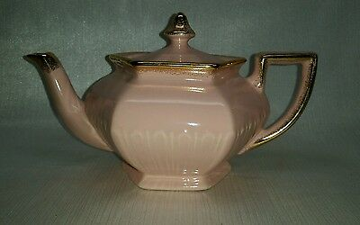 Arthur Wood She'll Pink & Gold 6 Sided Hexagon Teapot