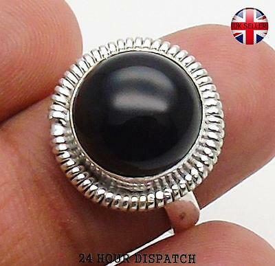 Black Onyx & 925 Sterling Silver OVERLAY Handmade Ring  US Size 7.5 MT13497