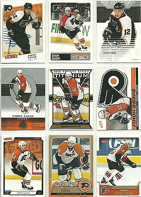 Simon Gagne - 9  Different Trading Cards .