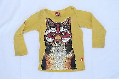 Rock Your Baby Yellow Fox Tee Long Sleeved Top Toddler Girl Boy Baby Size 1