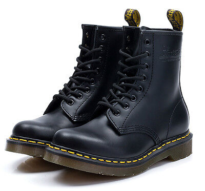 Dr Martens 8-Eye 1460 Classic Airwair Black Smooth Leather Boots Unisex UK3-11