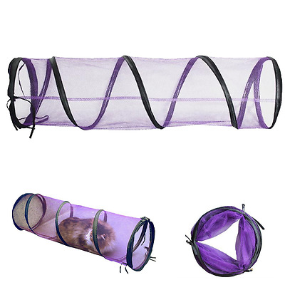 Cat Collapsible Crawl Solid Fun Mesh Tunnel Play Purple
