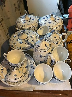 Furnivals Blue Denmark Pottery. Job Lot. 92 items in excellent condition.