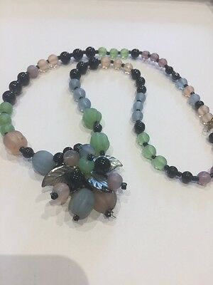 Vintage Art Deco Pale Pink Blue And Green Glass Flowers Bead Necklace