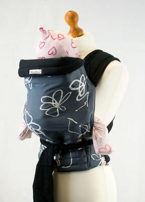 New Mei Tai Baby Sling Reversible Carrier - Grey White Design