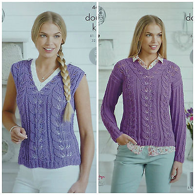 KNITTING PATTERN Ladies Easy Knit V-Neck Lacy Top/Jumper Bamboo DK 4486