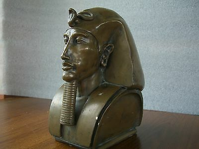 Pharaoh Bust Antique Edwardian Cast Bronze Effect Egyptian King Pharaoh 23cms H