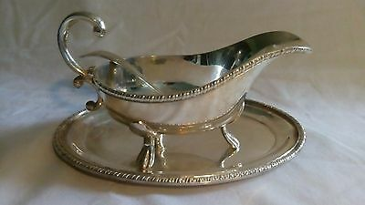 Vintage Alpha plated Viners gravy boat, tray, and  ladle