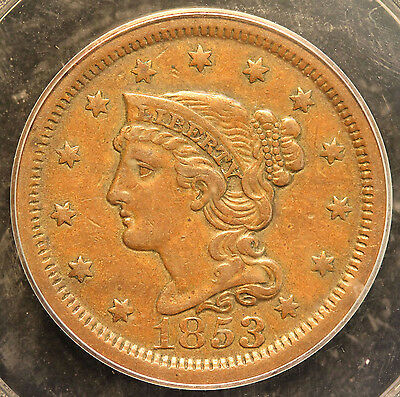 1853 N-6 Large Cent in an 1852 PCGS Holder Graded XF45