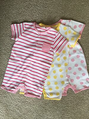 Bnwot Next 3 Baby Girl Rompers 3-6 Summer Holiday New