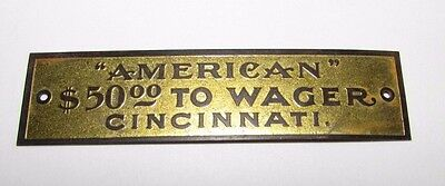 Antique American Carriage Co Cincinnati Tag Label $50 To Wager Wagon Buggy