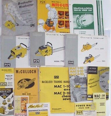 Lot Vtg McCulloch Chain Saw Manuals Price Sales Brochures Mite-E-Lite Weedcutter