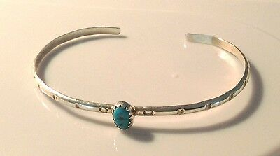 VTG 925 Sterling Silver Turquoise Native American Navajo Etched Cuff Bracelet