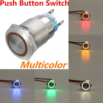 Sliver 5Pin 19mm Led Light Stainless Steel Push Button Momentary Switch 12V IP65