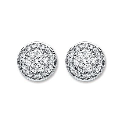 18ct White Gold 0.25 carat t Diamond Halo Stud Earrings