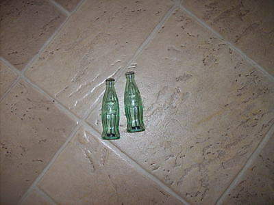 Coca Cola Salt and Pepper Shakers Green Glass