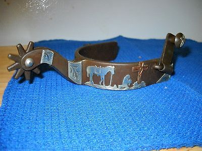 PAIR of Western Show Praying Cowboy Antique Brown Spurs.