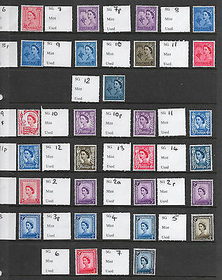 Full set of Pre-Decimal Regionals as per SG Concise Inc NI 4d PVA UNMOUNTED MINT