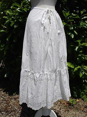petit jupon ancien coton fin + broderie anglaise