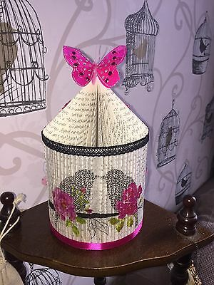 Hand Made Folded Book Birdcage Art Anniversary Birthday Gift Butterflies Unique