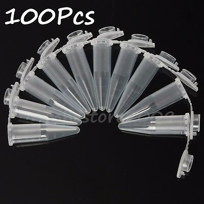 100PCS 1.5ml Lab Clear Micro Plastic Test Tube Centrifuge Vial Snap With Cap