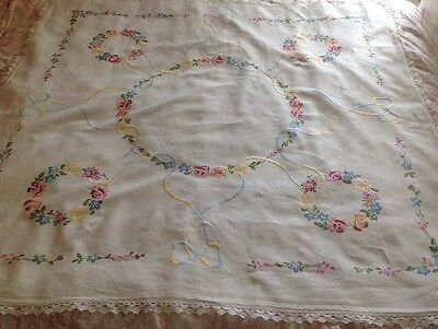 Large Vintage Table Cloth Linen Embroidered Flowers Shabby Chic Beautiful
