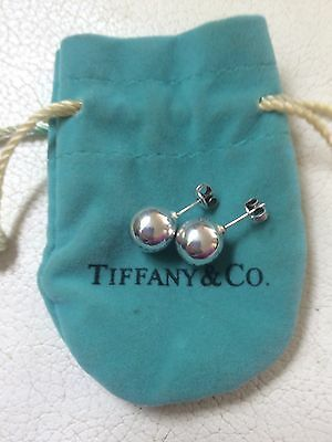 Authentic Tiffany & Co. 925 Hallmarked Sterling Silver 10mm Bead Stud Earrings