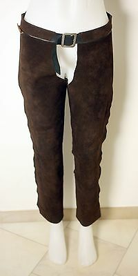 GIBBINS LADIES DARK BROWN SUEDE LEATHER CHAPS-UK 8 to 10-USED-DIRT MARK BY HEM